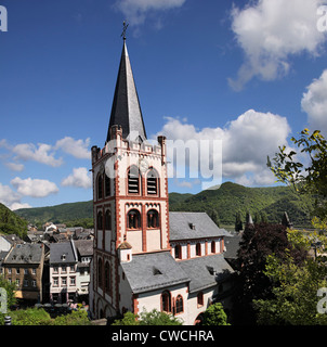 Church of Sankt Peter in Bacharach in the Middle Rhine Valley, Rhineland-Palatinate, Germany - Stock Photo
