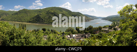 Middle Rhine Valley near Bacharach, Rhineland-Palatinate, Germany - Stock Photo