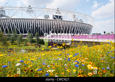 UK London 2012 Stratford Olympic Park Stadium wild English countryside flowers flower bridge over City Mill River - Stock Photo