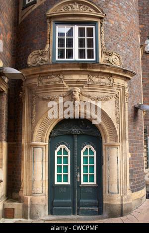 Entrance of a merchant house in Hamburg - Stock Photo