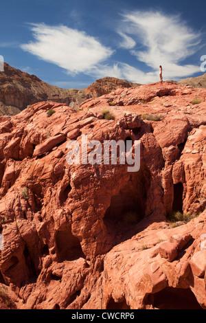 Hiking in Lake Mead National Recreation Area, near Las Vegas, Nevada. (Model Released) - Stock Photo