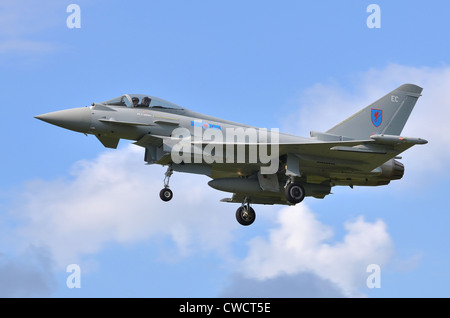 Eurofighter Typhoon FGR4 operated by the RAF on approach for landing at RAF Fairford - Stock Photo
