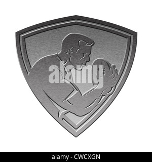 illustration of a rugby player running passing the ball on isolated background done in metallic silver style set - Stock Photo