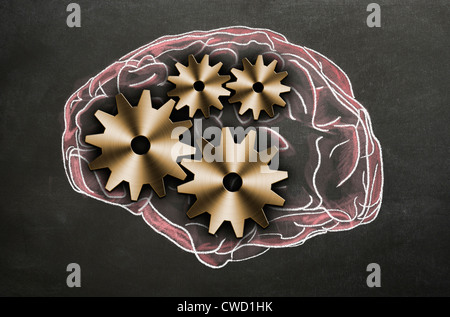 Chalk illustration of the human brain with cogs and gears representing the inner workings. Concept image - Stock Photo