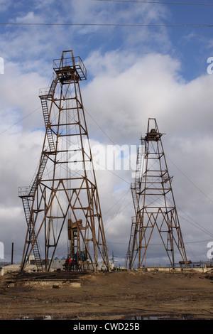 Azerbaijan. Baku oil rigs - Stock Photo