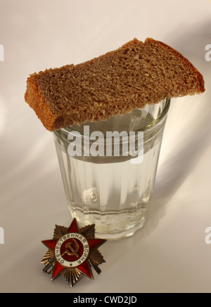 The order 'Great Patriotic war' and glass with piece of bread - Stock Photo
