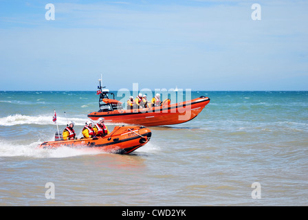 Both Walmer RNLI lifeboats at sea off the Kent coast during the lifeboat stations open day in 2012. - Stock Photo