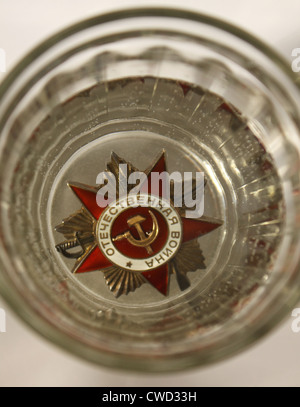 Order of the 'Great Patriotic War' in the glass. The custom of 'wash' Order and pip. - Stock Photo