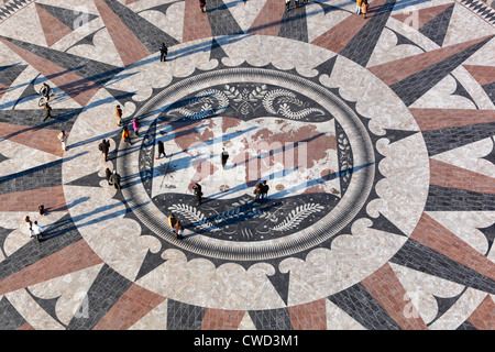 Pavement map showing routes of Portugese explorers below Monument to the Discoveries - Stock Photo