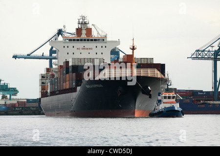 Manila Express, Hong-Kong registered, 50869 dwt, 4253 TEU containership leaves port of Rotterdam with tug escort - Stock Photo