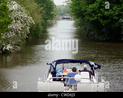 Large river boat on the River Thames near Culham Lock, Oxfordshire - Stock Photo