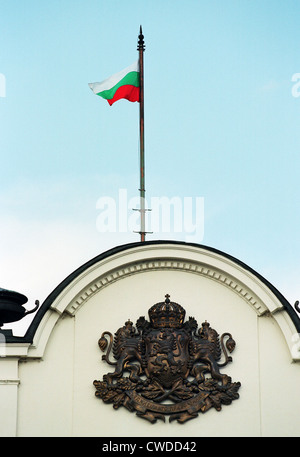 National emblem and national flag on the building of the Bulgarian Parliament in Sofia - Stock Photo