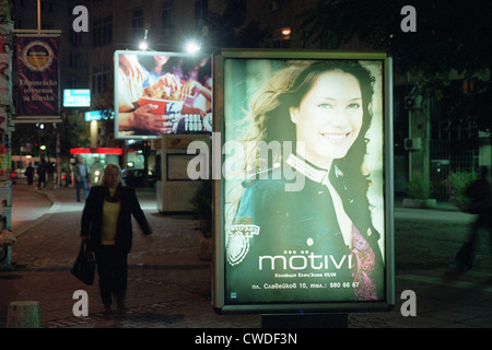 Neon sign of motivi at night on a street in Sofia - Stock Photo