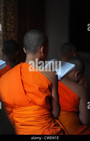 Novice Monk during evening chanting time in Luang Prabang Temple, Laos. - Stock Photo