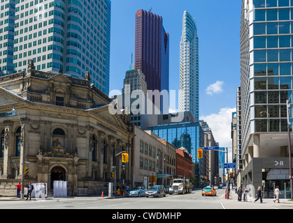 View down Yonge Street at intersection with Front Street in financial district with Hockey Hall of Fame to left, - Stock Photo