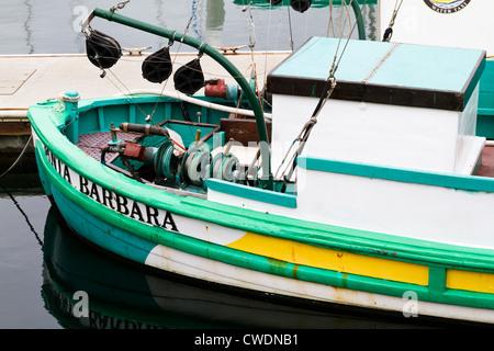 Fishing boat dock in 'Santa Barbara' harbor. - Stock Photo