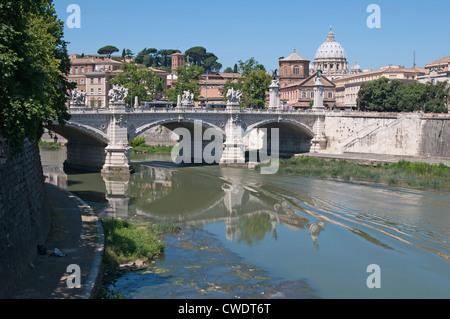 View of the  Ponte Vittorio Emanuele II Bridge over the river Tiber, Rome, Italy, Europe - Stock Photo