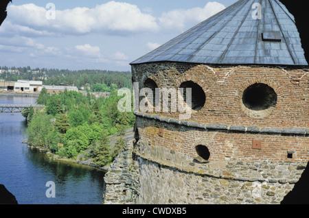 Olavinlinna is a 15th century three-tower castle located in Savonlinna, Finland. - Stock Photo