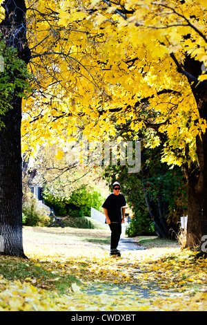 A young man smiles while longboarding through a sea of fall colors in Montana. - Stock Photo