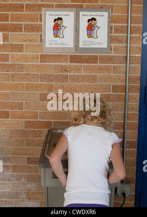 7 year old white girl uses water fountain at elementary school in Austin, Texas above bilingual sign instructing - Stock Photo
