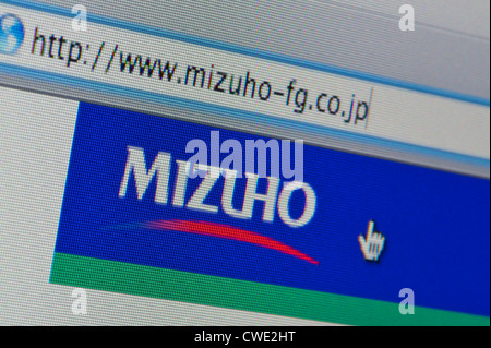 Close up of the Mizuho logo as seen on its website. (Editorial use only: print, TV, e-book and editorial website). - Stock Photo