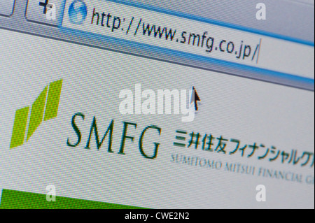Close up of the SMFG logo as seen on its website. (Editorial use only: print, TV, e-book and editorial website). - Stock Photo
