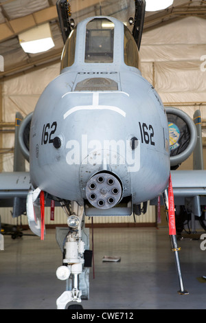 An A-10 Thunderbolt from the 354th Fighter Squadron sits parked in a hangar at Davis-Monthan Air Force Base. - Stock Photo