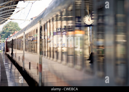 Berlin, a train is in the station Spandau - Stock Photo