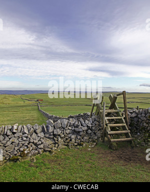 A ladder stile over a dry stone wall with views to open countryside near to Castleton Derbyshire England UK - Stock Photo
