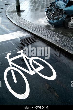 traffic sign,bike lane,accident - Stock Photo