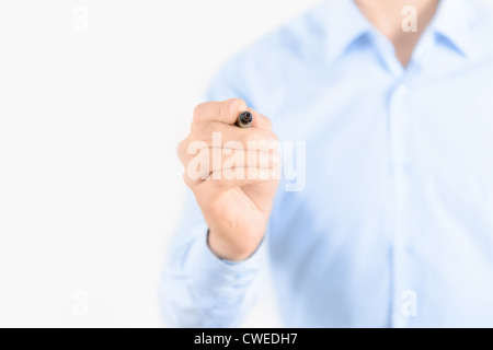 Young businessman prepare to start drawing concept. Isolated on white. - Stock Photo