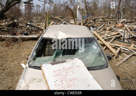 Car wreck after Hurricane Katrina - Stock Photo