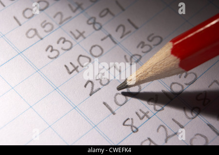Handwritten numbers in ledger - Stock Photo
