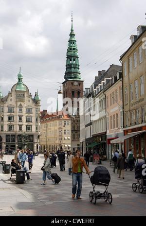 Denmark, Copenhagen, Strøget pedestrian - Stock Photo