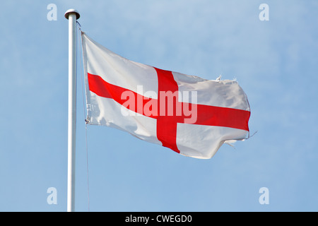 flag of england and the english the st george's cross a red cross on white - Stock Photo