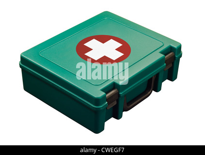 standard first aid kit isolated on white - Stock Photo