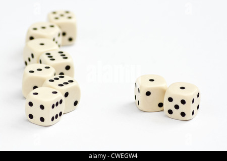White dice frame edge with focus on double one or snake eyes - Stock Photo