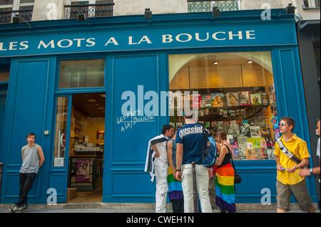 Paris, France, People Outside, Le Marais District, Gay Bookstore, 'Les Mots à la Bouche' - Stock Photo