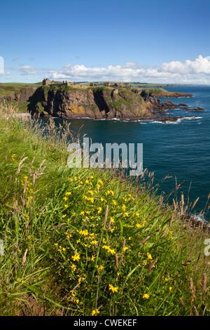 Dunnottar Castle across Old Hall Bay near Stonehaven Aberdeenshire Scotland - Stock Photo