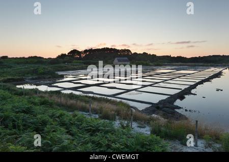 Marais Salants de Kervillen. Salt Marshes at Kervillen near Carnac. Brittany. France. - Stock Photo
