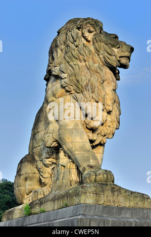 Bouré's monumental lion at the Gileppe Dam / Barrage de la Gileppe, arch-gravity dam in the Belgian Ardennes, Belgium - Stock Photo