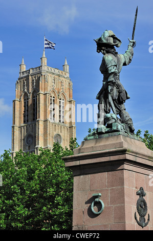 Statue of Jean Bart, naval commander and privateer and the belfry at Dunkirk / Dunkerque, Nord-Pas-de-Calais, France - Stock Photo