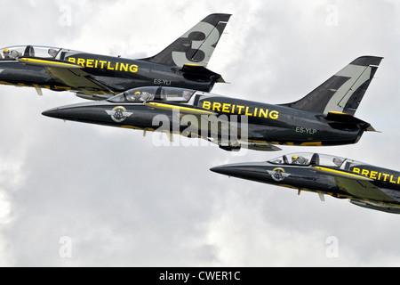 Aero L39 Albatross of the Breitling jet aerobatic team - Stock Photo