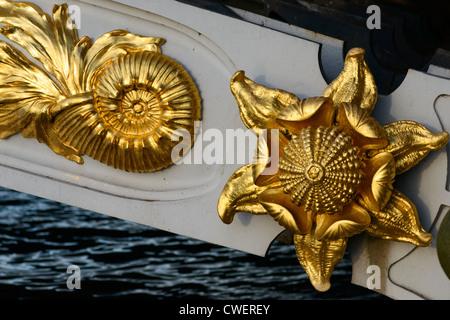 Detail on the side of Pont Alexandre III Bridge, Paris,France - Stock Photo