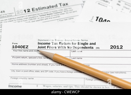 Usa Tax Form 1040ez For Year 2012 Stock Photo 74589750 Alamy