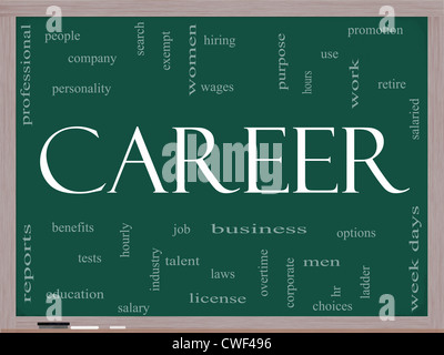 Career Word Cloud Concept on a Blackboard with great terms such as promotion, work, retire, salaried, hr, ladder, - Stock Photo
