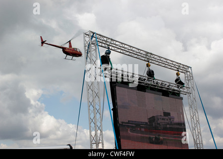Helicopter flight over Silverstone Race Circuit - Stock Photo