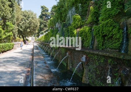 Le Cento Fontane - The Hundred Fountains at the renaissance gardens of the Villa d'Este, Tivoli, near Rome, Italy, - Stock Photo
