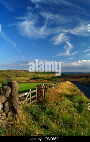 UK,Derbyshire,Peak District,Looking Towards Over Owler Tor & Millstone Edge,Road From Stanage Edge To Hathersage - Stock Photo