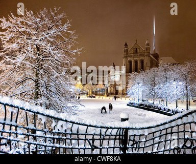 St.Anne's Cathedral in snow, Belfast - Stock Photo
